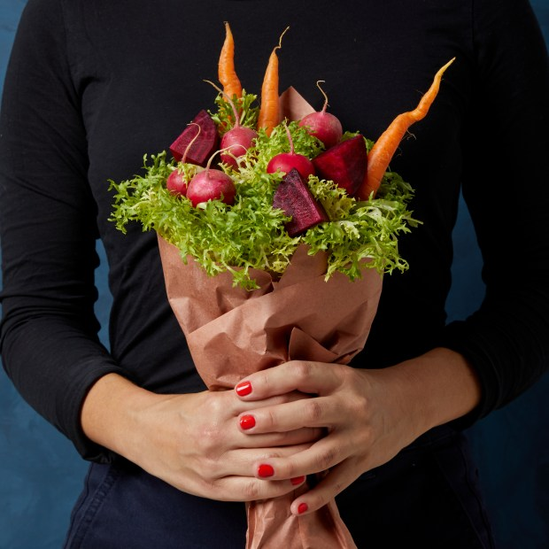 beet and carrot vegetable bouquet
