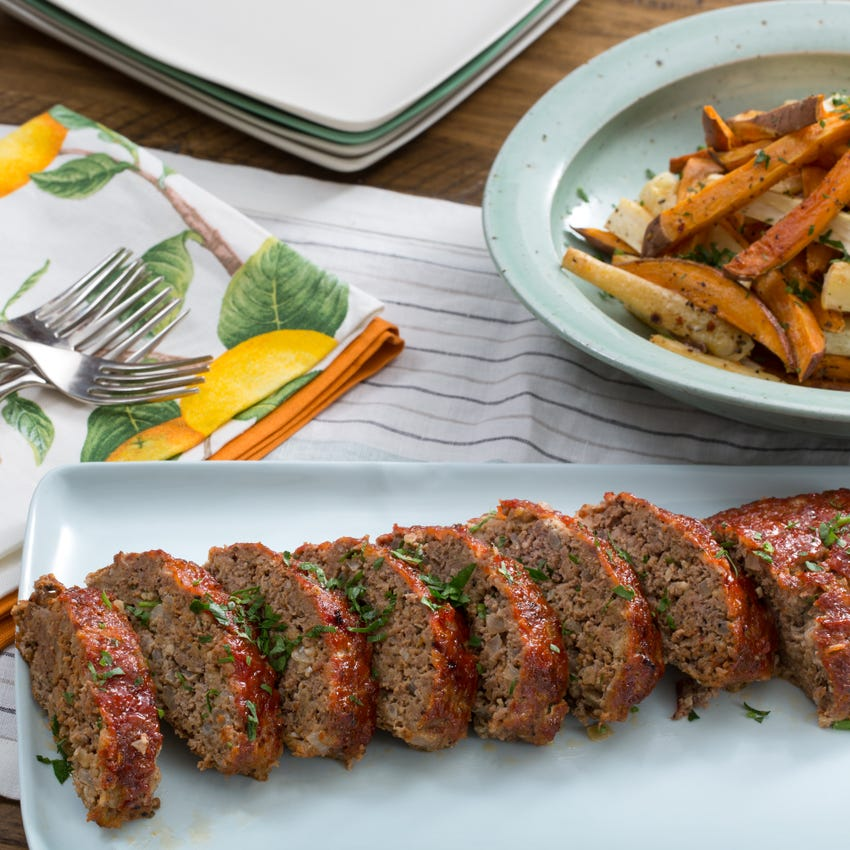 Homey meatloaf and sweet potato oven fries