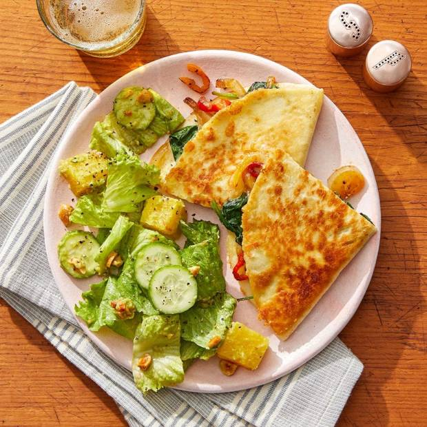 cheese quesadillas with salad