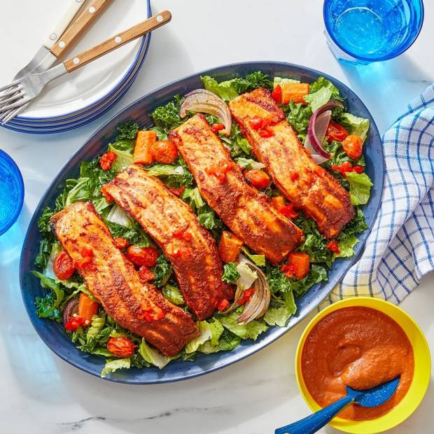 bbq sauce salmon dinner