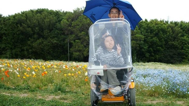 電動車椅子用雨具のアンブレラ