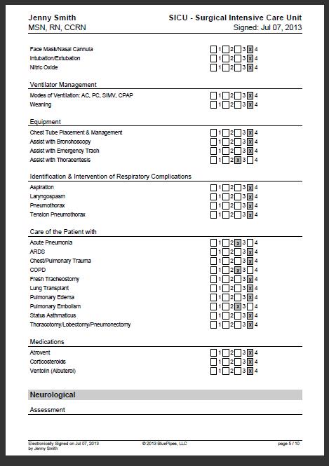 Sample Nursing Skills Checklist » BluePipes Blog