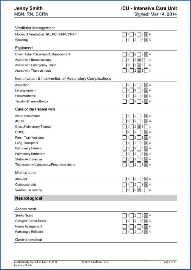 Sample Travel Nursing Skills Checklist - Free » BluePipes Blog