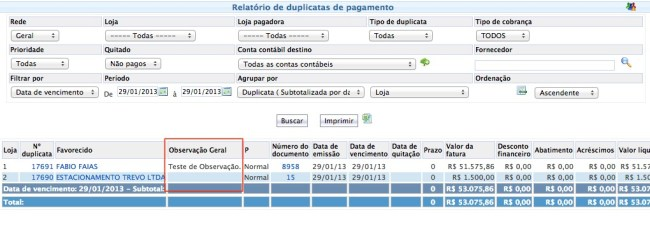 Relatório de Duplicatas de Pagamento - Observação Geral