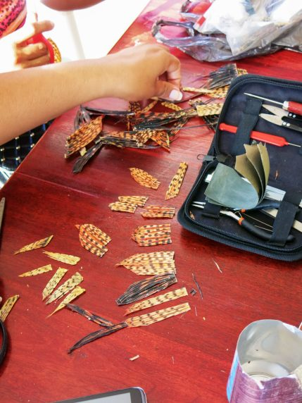 Crafting handmade jewellery from lionfish fins, tails and spines