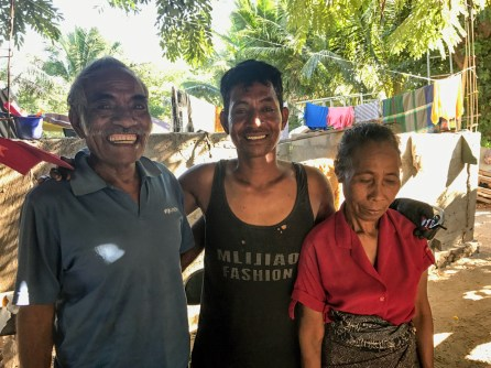 Amos Da Costa with his parents in Biqueli village | Photo: Christina Saylor