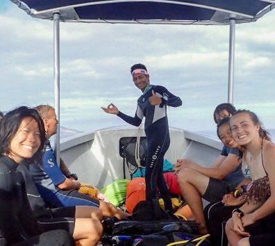 Amos on Blue Ventures' dive boat | Photo: Christina Saylor