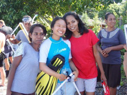 Rebecca with seagrass surveyors from Ataúro | Photo: Christina Saylor