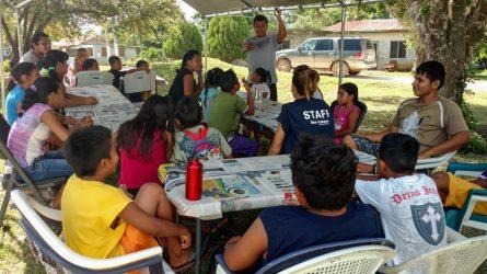 Tyrell Reyes, Blue Ventures' Science Coordinator, explaining Belize's lionfish invasion.