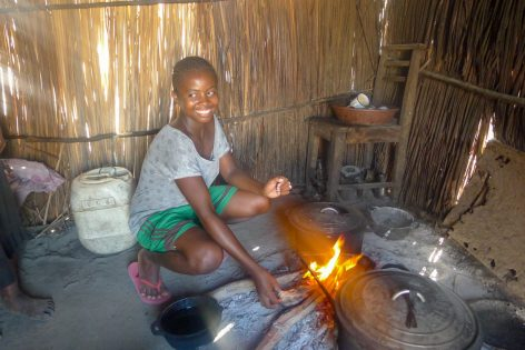A Vezo student making lunch after class