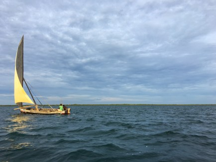 A traditional Swahili fishing boat called a dhow, close to Lamu Island