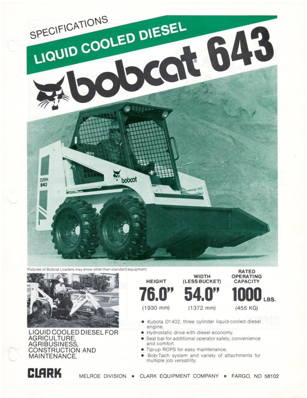 medium resolution of bobcat 643 spec sheet 1981