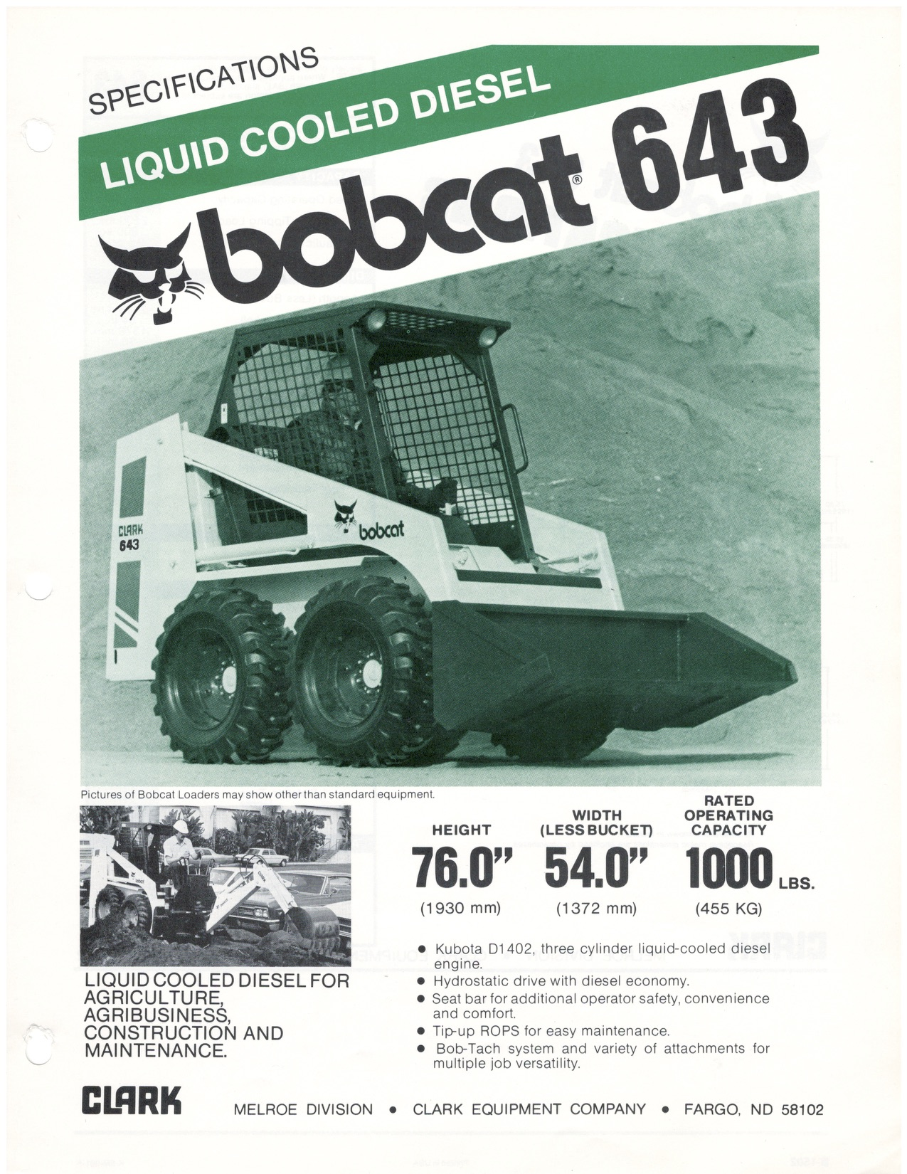 hight resolution of bobcat 643 spec sheet 1981