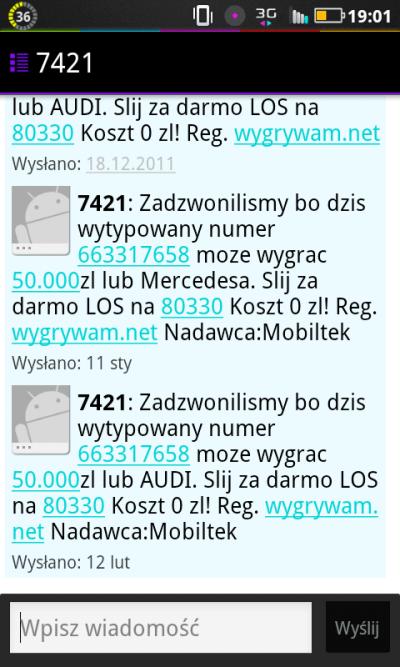 7421, 80330 i223205311 = wygrywam.net – kolejny trefny konkurs sms