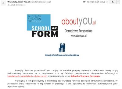 AboutYou.pl: klasyczny przykład złego e-maila zpytaniem ozgodę nawysłanie oferty
