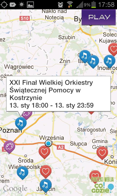 Mapa imprez wramach 21.finalu WOSP