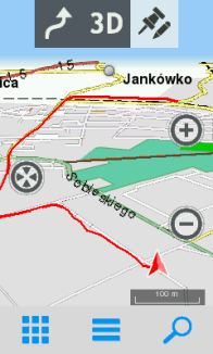 Przykład narysowanej trasy 3D+ w Twonav Sportiva 2+