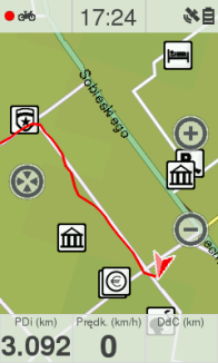 Przykład narysowanej trasy w Twonav Sportiva 2+