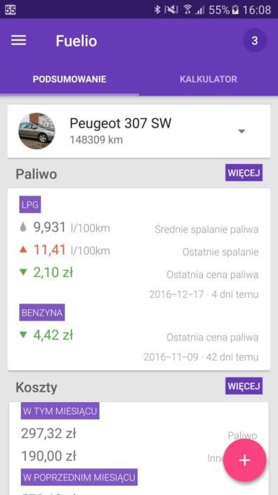 Aplikacje android w 2016 - Fuelio