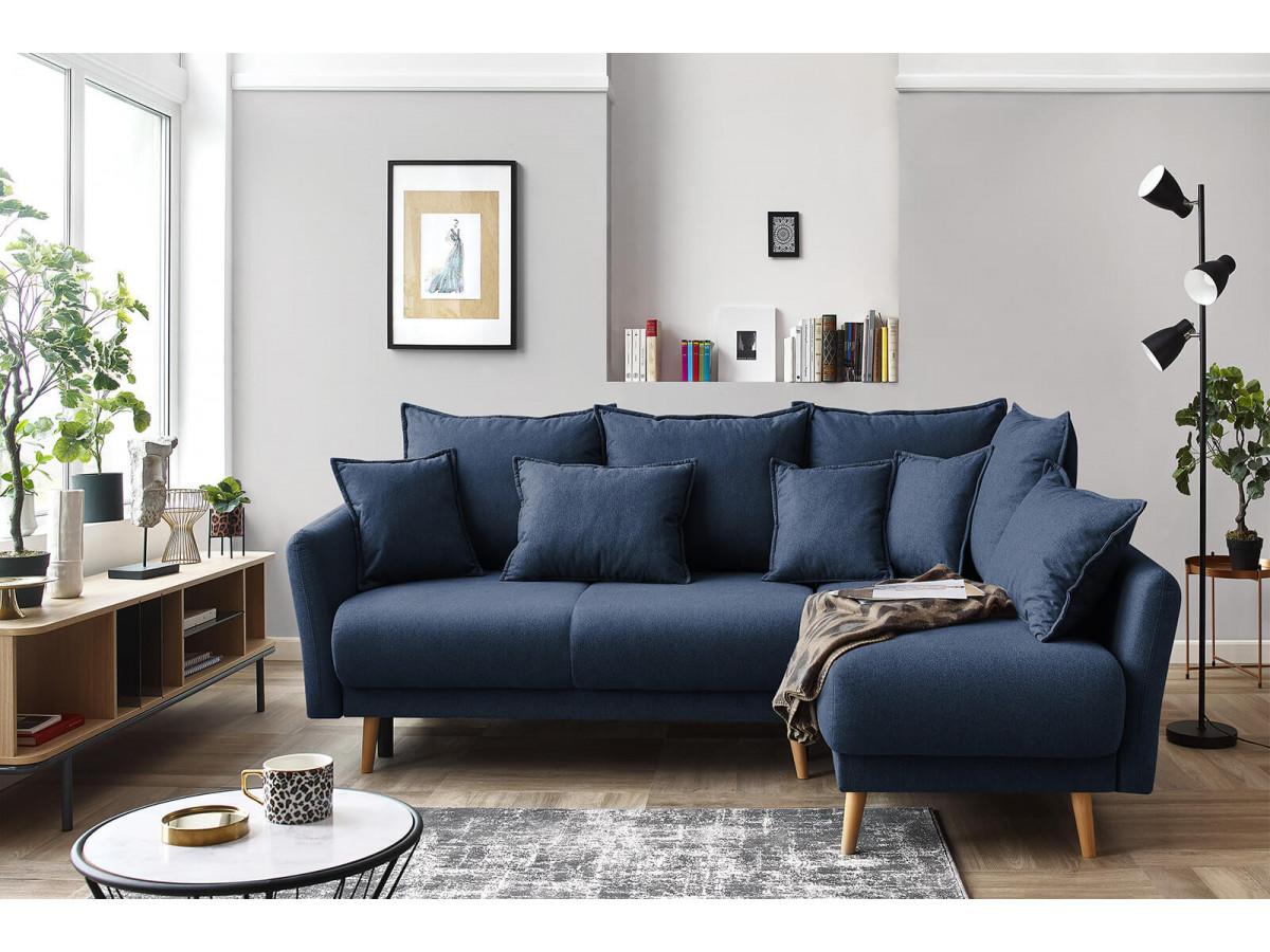 salon avec un canape bleu