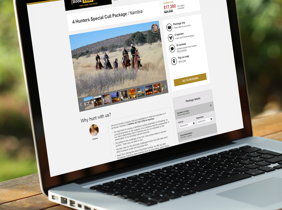 BookYourHunt: new design of the trip page