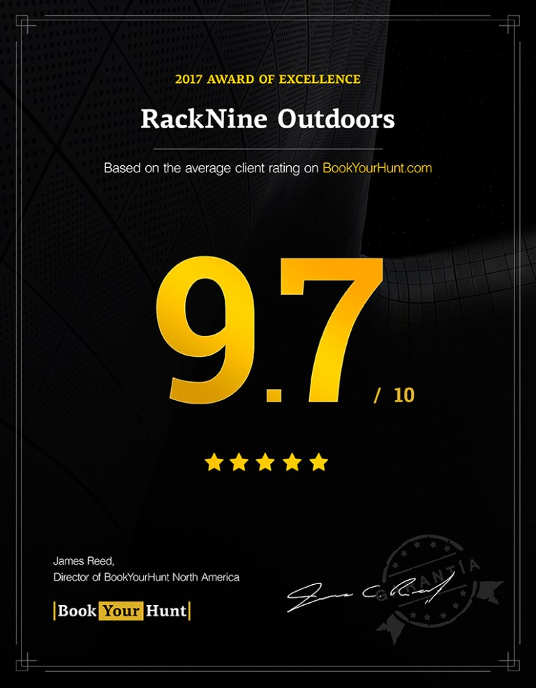 RackNine Outdoors consumer rating 9.7/10 on BookYourHunt.com