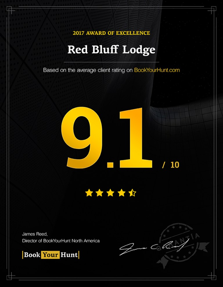 Red Bluff Lodge 9.1/10 consumer rating on BookYourHunt.com