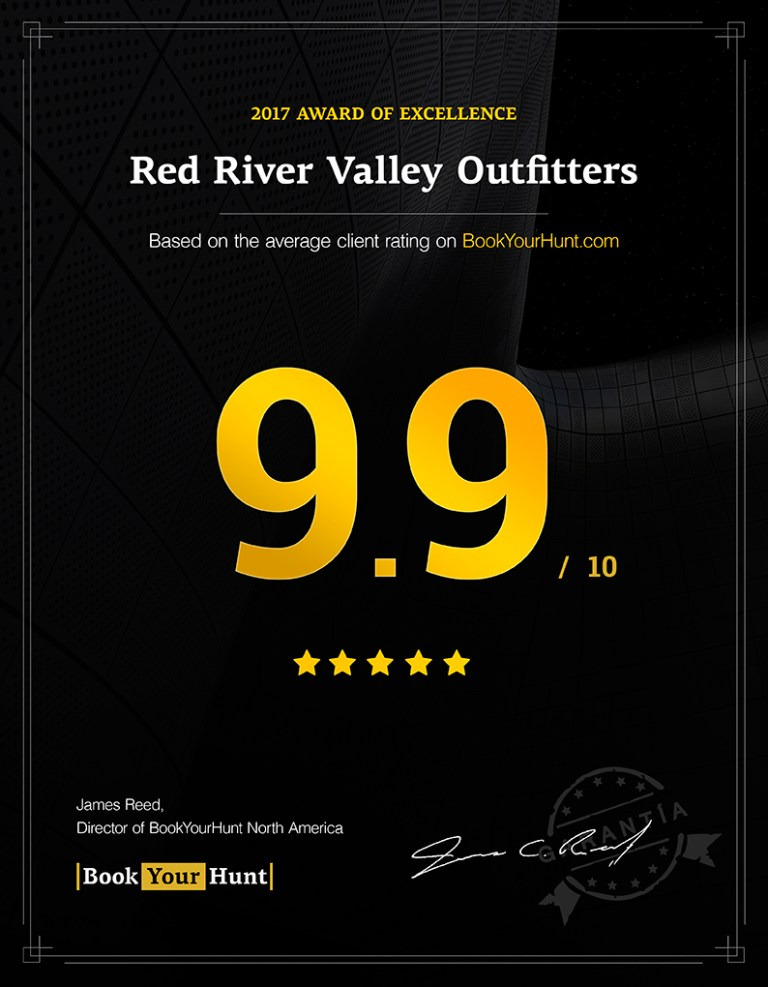Red River Valley Outfitters 9.9/10 consumer rating on BookYourHunt.com