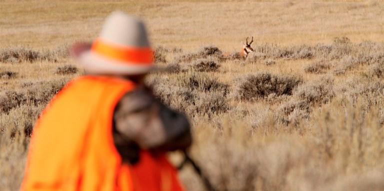 Ron Spomer aiming at pronghorn antelope