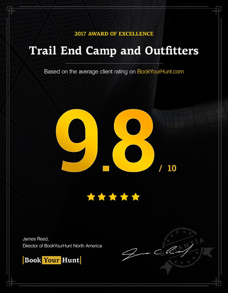 Trail End Camp and Outfitters 9.8/10 consumer rating on BookYourHunt.com