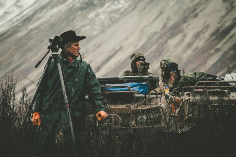 Jim Shockey with Argo ATV, camera, and crew on a bad wather day in Yukon
