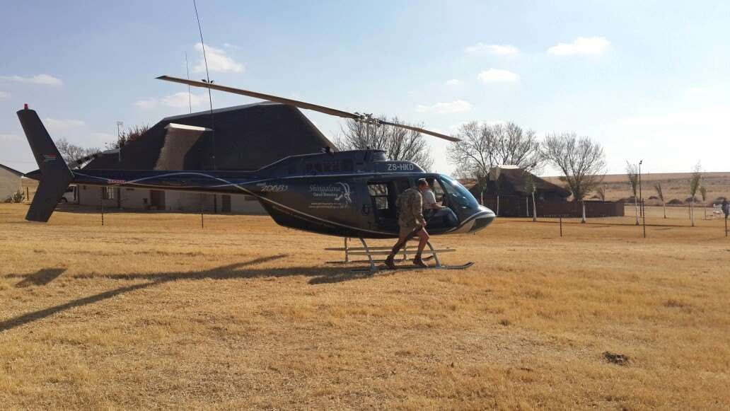 Helicopter at a hunting lodge in Africa