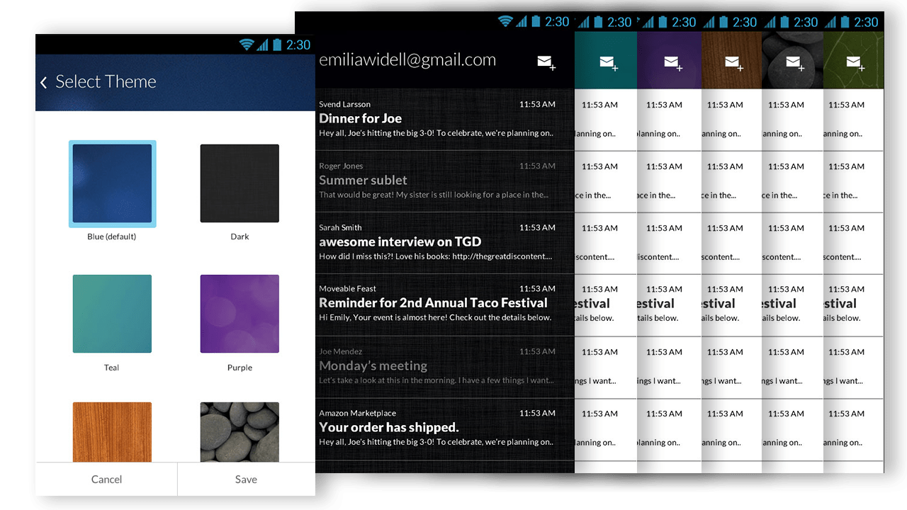 Themes for gmail app