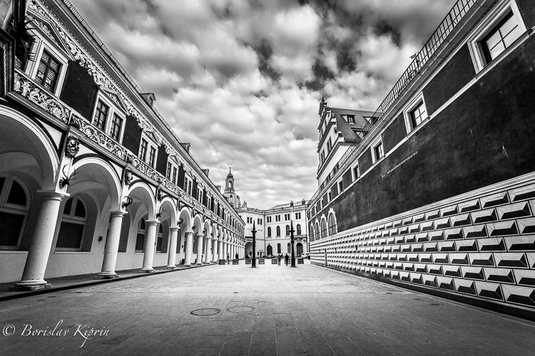 Dresdener courtyard in black and white and HDR...