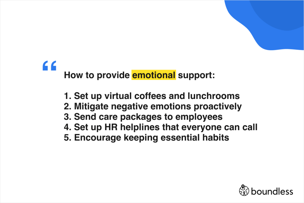 how to provide emotional support to remote employees