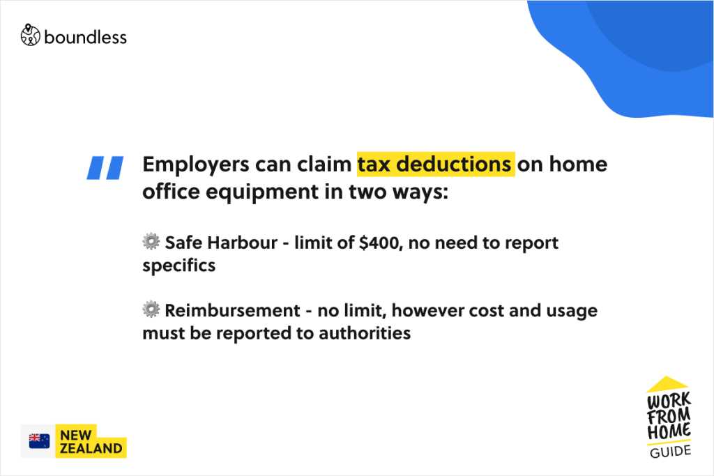 tax deductions for employers in New Zealand in the case of an employee working from home