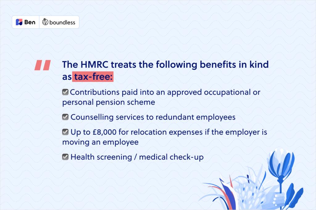 tax free benefits according to the HMRC