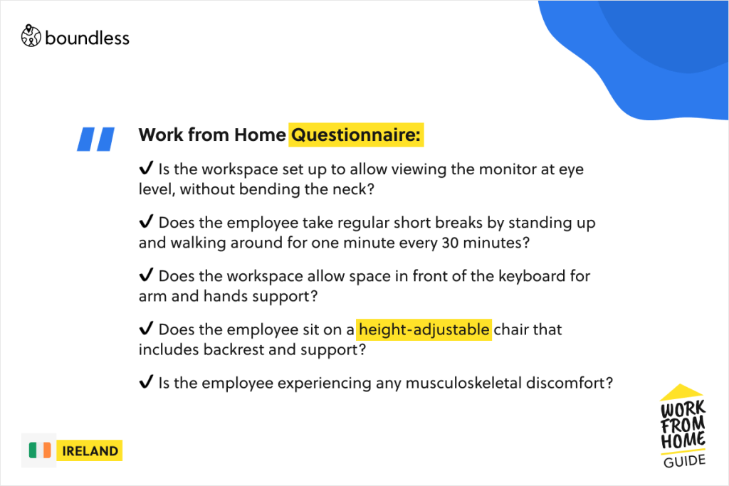 work from home Ireland questionnaire