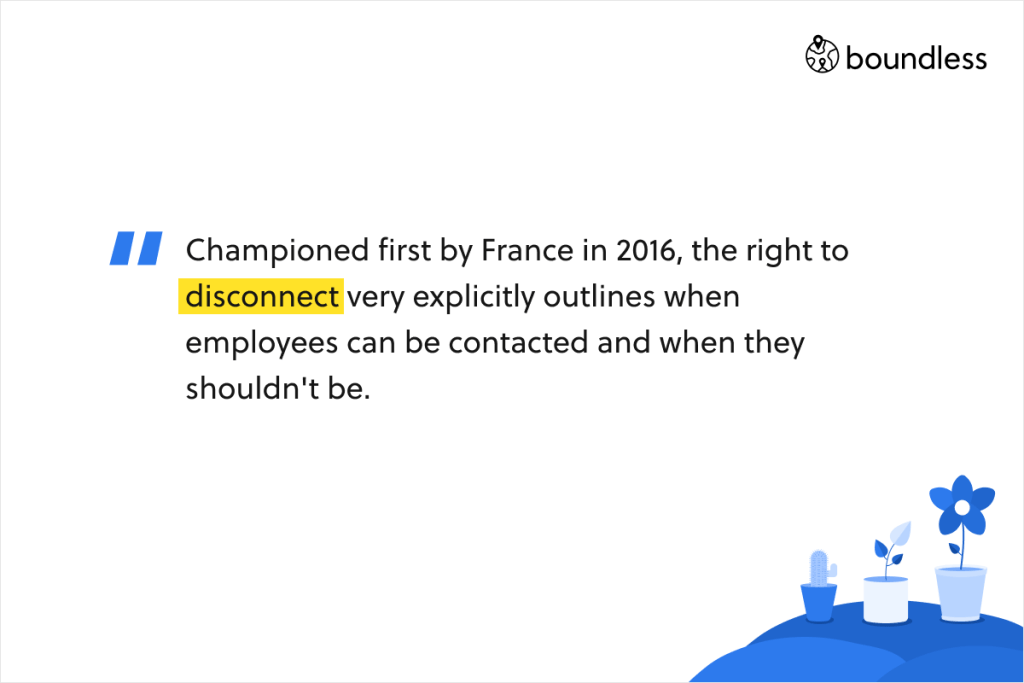 Championed first by France in 2016, the right to disconnect very explicitly outlines when employees can be contacted and when they shouldn't be.