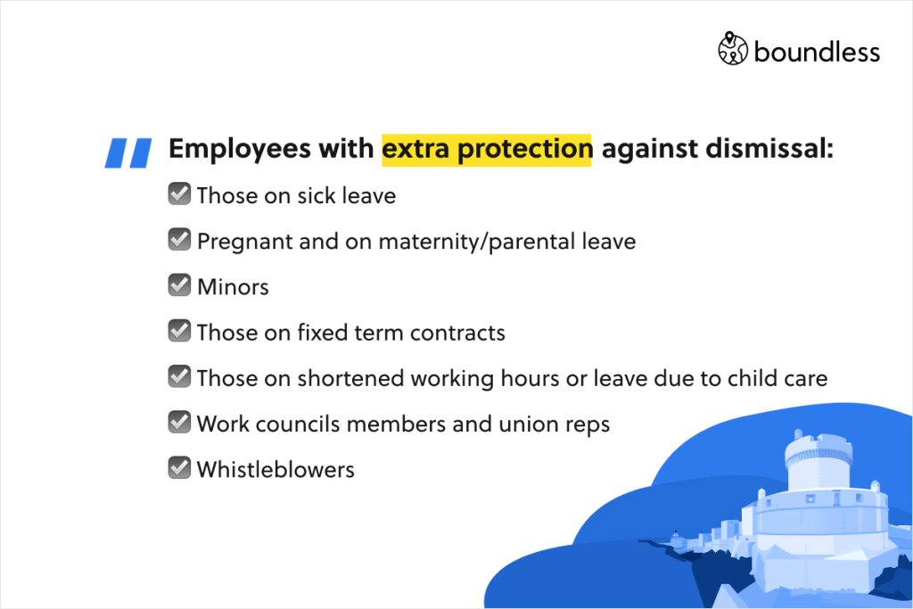 Employees with extra protection against dismissal: ☑️ Those on sick leave ☑️ Pregnant and on maternity/parental leave ☑️ Minors ☑️ Those on fixed term contracts ☑️ Those on shortened working hours or leave due to child care ☑️ Work councils members and union reps ☑️ Whistleblowers