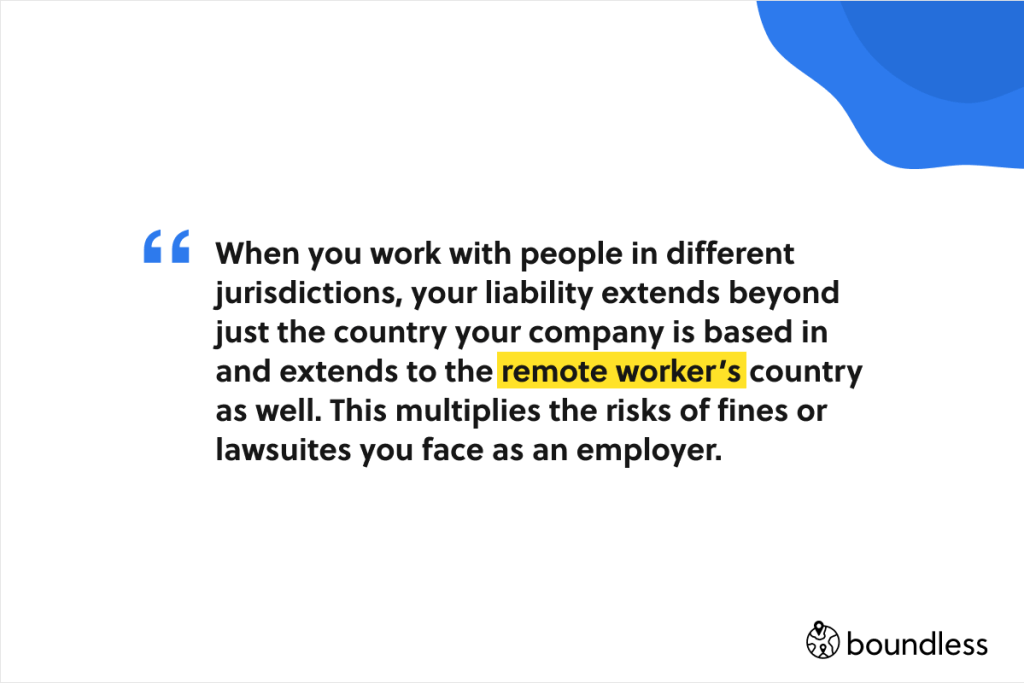 remote workers in different countries bring extra liability for employers if they misclassify them