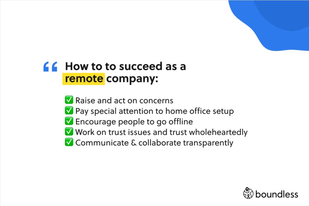 the five keys to succeeding as a remote company