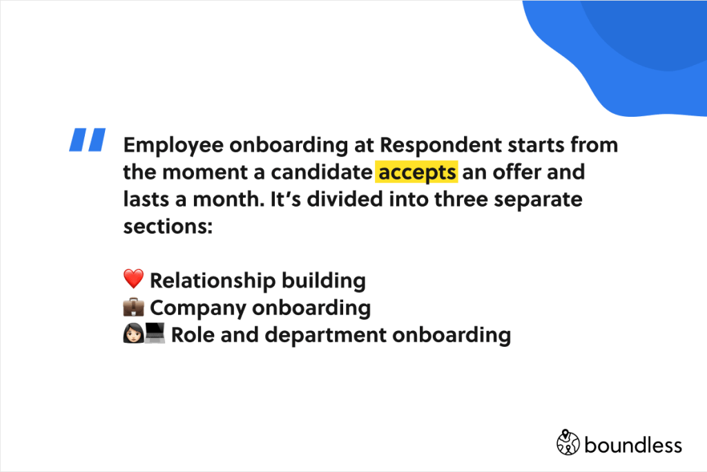 employee on boarding according to respondent