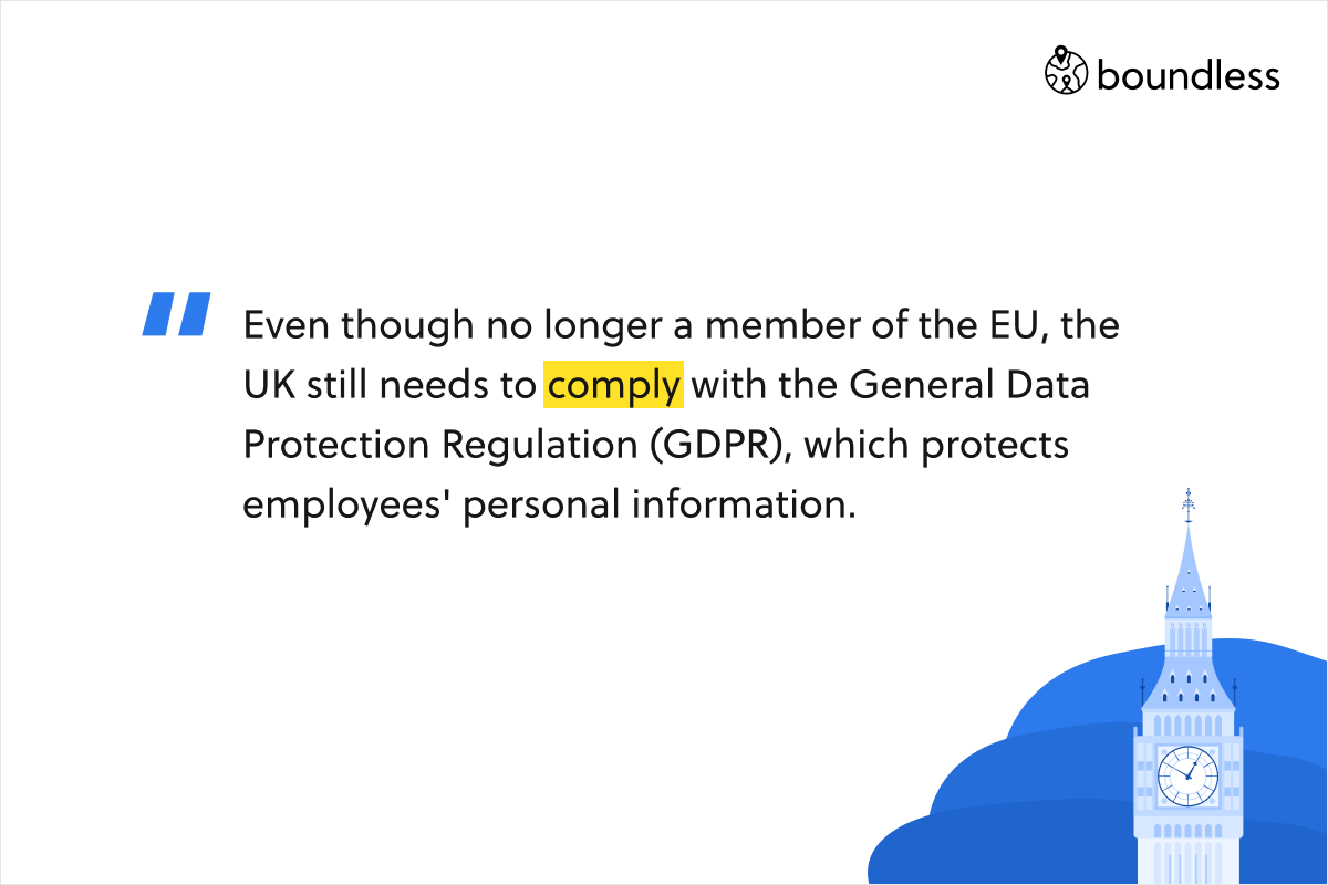 Even though no longer a member of the EU, the UK still needs to comply with the General Data Protection Regulation (GDPR), which protects employees' personal information.