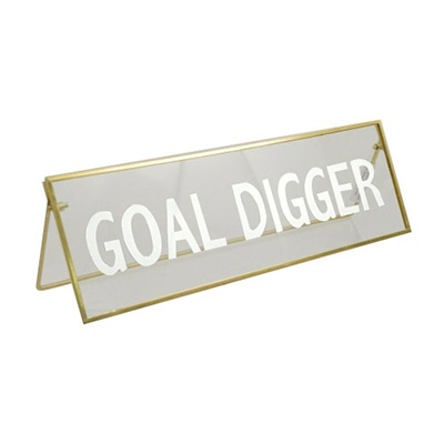 Concepts of Time - 11x3.5 'Goal Digger' Print Metal Framed Glass Plaque Kick Stand
