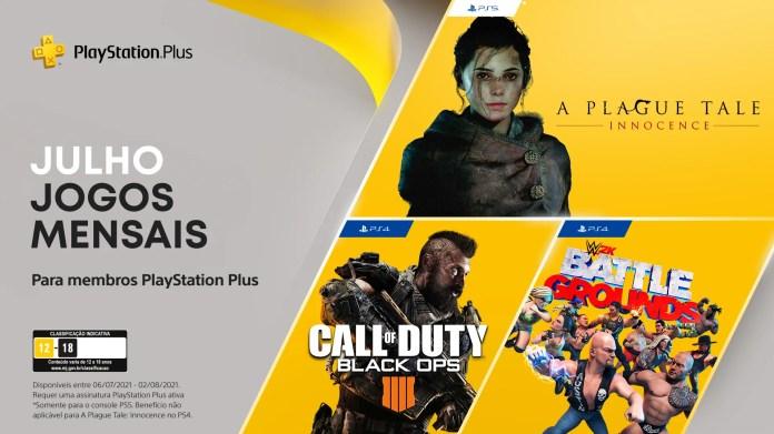 Jogos de julho para assinantes PlayStation Plus: Call of Duty: Black Ops 4, WWE 2K Battlegrounds, A Plague Tale: Innocence