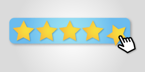 a mouse button being clicked on a five star review board for Google Ads Extensions