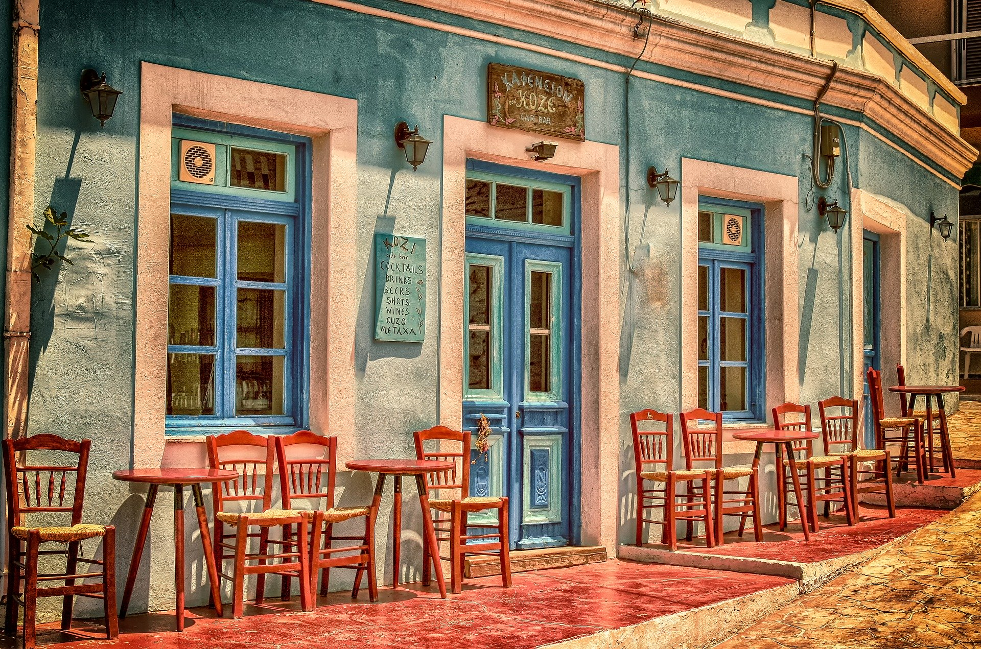 Artistic Drawing of a restaurant front with empty tables and chairs