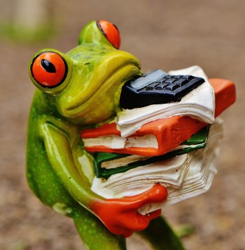 Frog carrying multiple folders and documents