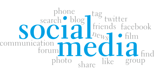 The word social media being surrounded with words that explain social media